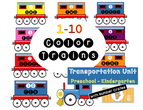 Color Trains with Counting Cars 1-10