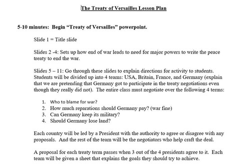 Treaty of Versailles Role Play Activity