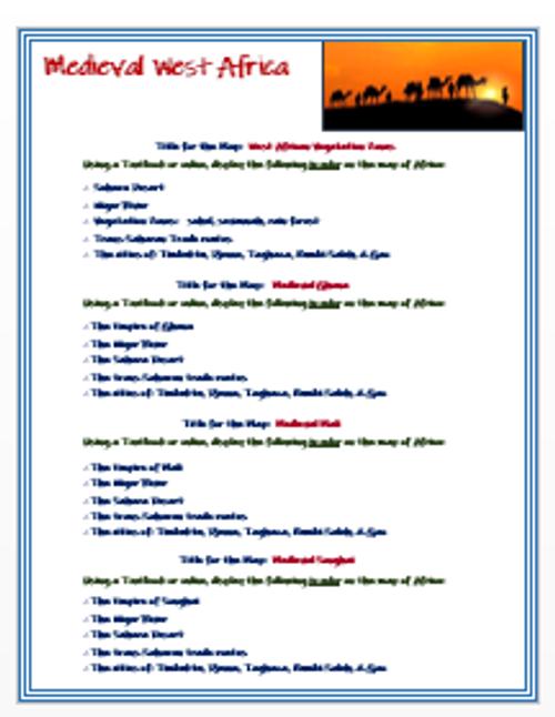 Medieval West Africa - Map Activities + DBQ Assessment