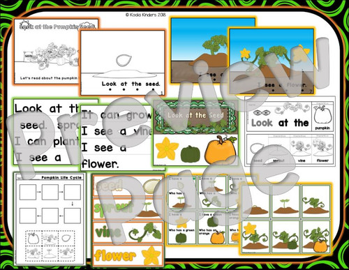 """Look At the Pumpkin Seed"" Full Size Emergent Reader and Extension Activities"