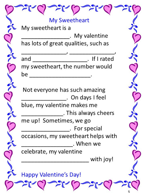 graphic relating to Valentine Mad Libs Printable named Valentines Working day Ridiculous Libs