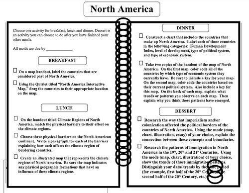 World Geography Continent Learning Menus