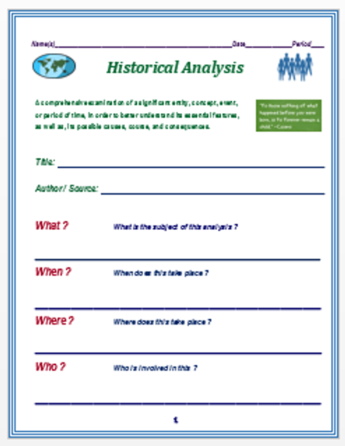 Historical Analysis Form