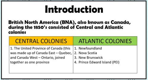 Central and Atlantic Colonies Prior to Confederation