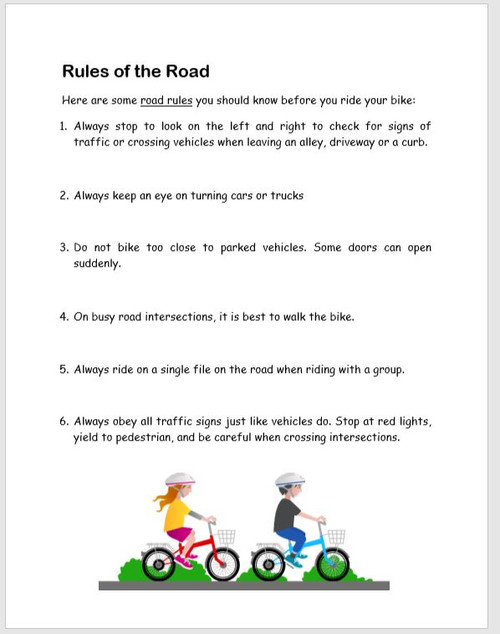 Bike Safety lesson with activities