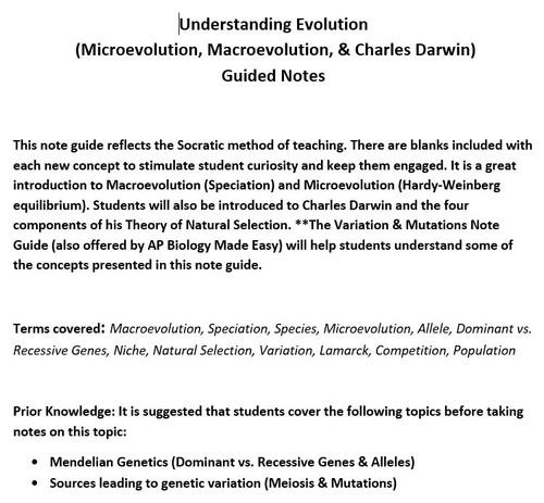 Understanding Evolution Guided Notes (Micro, Macroevolution & Charles Darwin)