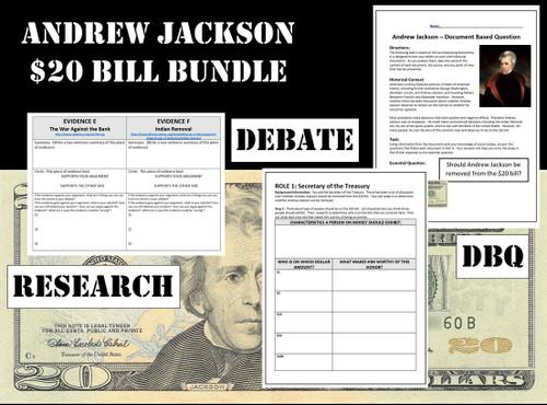 Andrew Jackson $20 Bill Bundle - Webquest, Debate, DBQ