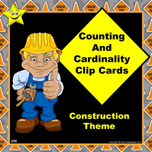 Math Counting and Cardinality Clip Cards, Construction Theme