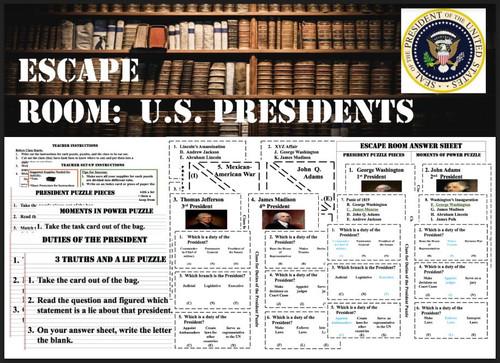 Escape Room-Presidents (Washington - Jackson)
