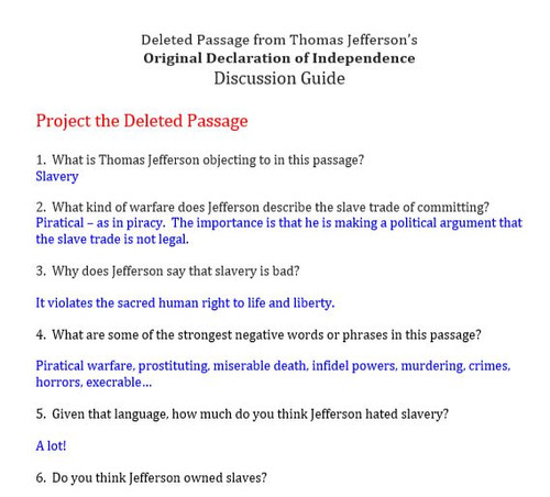 Declaration of Independence:  The Deleted Passage Opposing Slavery