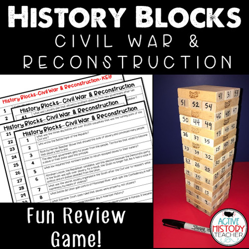 US History Review Game - History Blocks - Civil War and Reconstruction STAAR Review