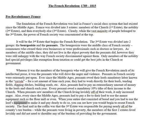 French Revolution Origins Comic Strip Activity