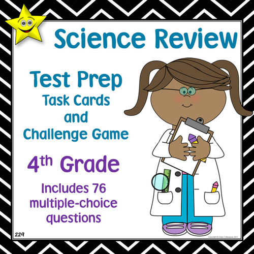 Fourth Grade Science Review Test Prep Task Cards