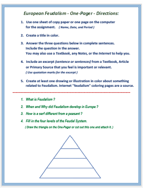 "European Feudalism - ""One Pager"" Activity/ Assessment"