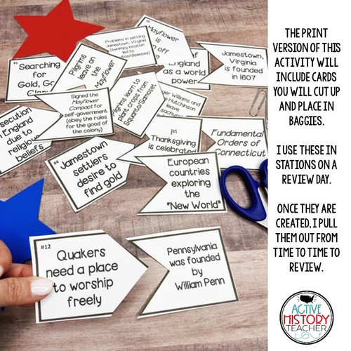 13 Colonies Cause and Effect Cards STAAR Review