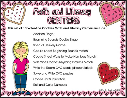 Valentine Cookies Math and ELA Centers