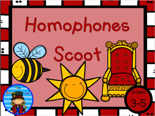Homophones Scoot Task Cards