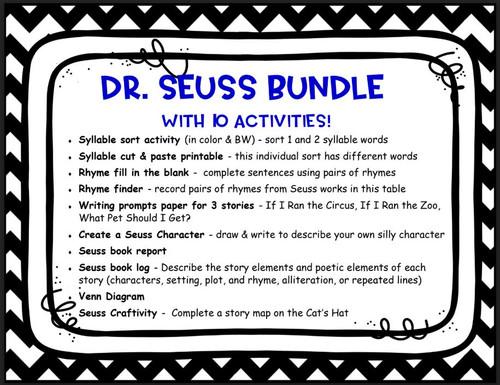 Dr. Seuss Bundle - 10 ELA Activities
