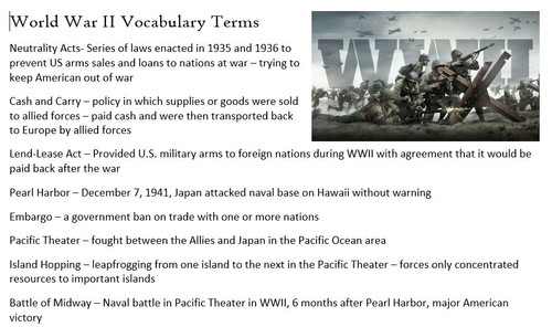 WWII Vocabulary Terms and Vocab Quiz - Editable