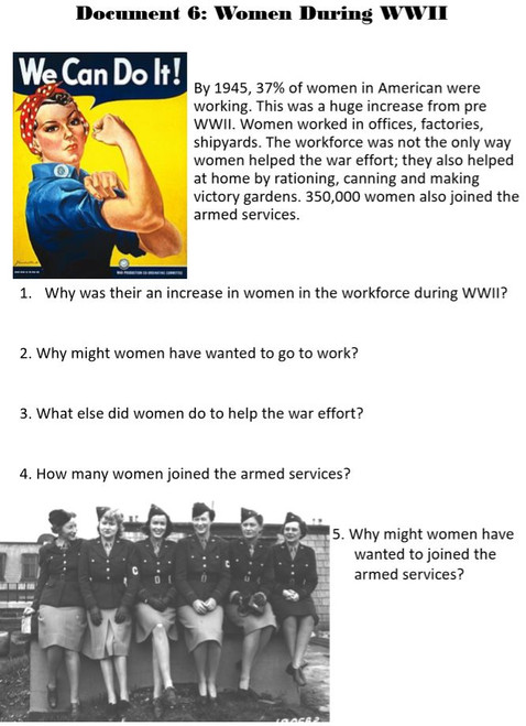 World War II Document Analysis - U.S. Homefront