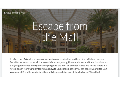 Escape from the Mall Valentine's Day Digital Escape Room