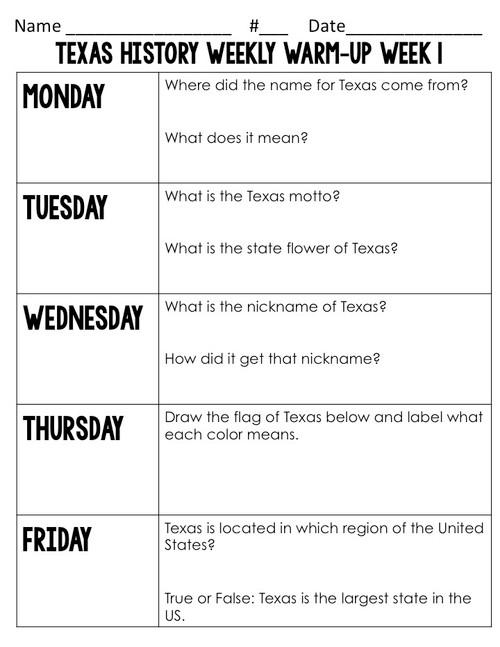 Texas History Weekly Warm-Ups