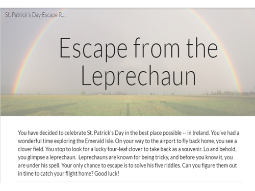 Escape from the Leprechaun St. Patrick's Day Escape Room