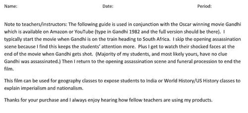 Gandhi (1982) Movie Question Guide