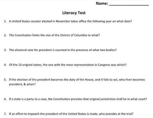 American Government--Voting Rights--Literacy Tests