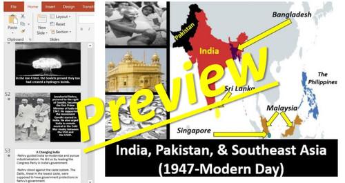 India, Pakistan, & Southeast Asia (1947-present)