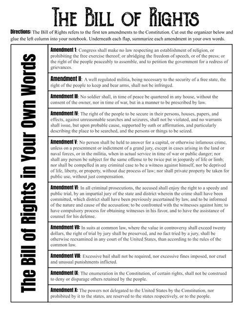 Bill of Rights Interactive Notebook Page - FREE