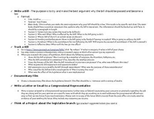 Legislative PBL Project (5-7 days)