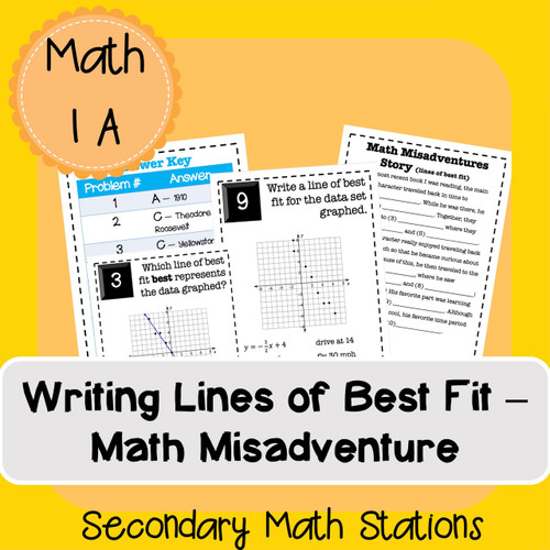 Writing Lines of Best Fit -- Math Misadventure (editable slides)