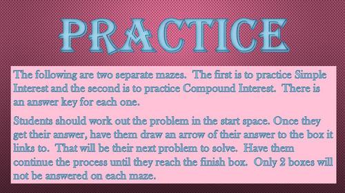 Simple & Compound Interest Mazes