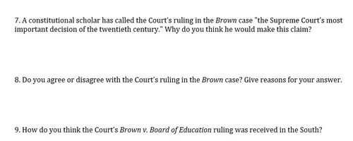 brown vs board of education questions