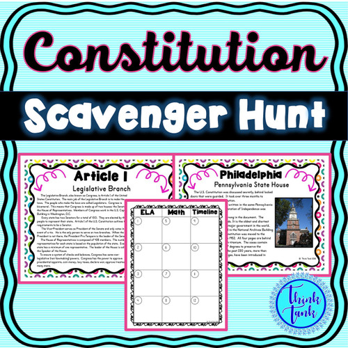 U.S. Constitution Scavenger Hunt -Task Cards - Articles of the Constitution
