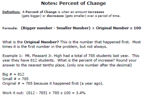 Percent of Change Practice