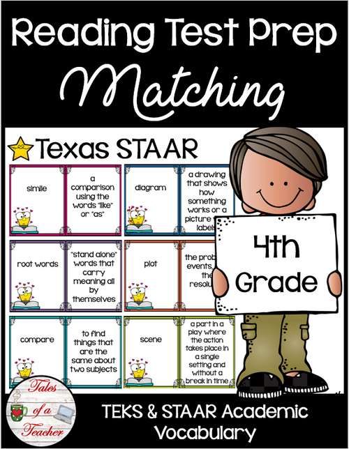 4th Grade STAAR Reading Matching Test Prep
