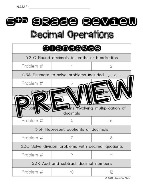 5th grade Review: Decimal Operations