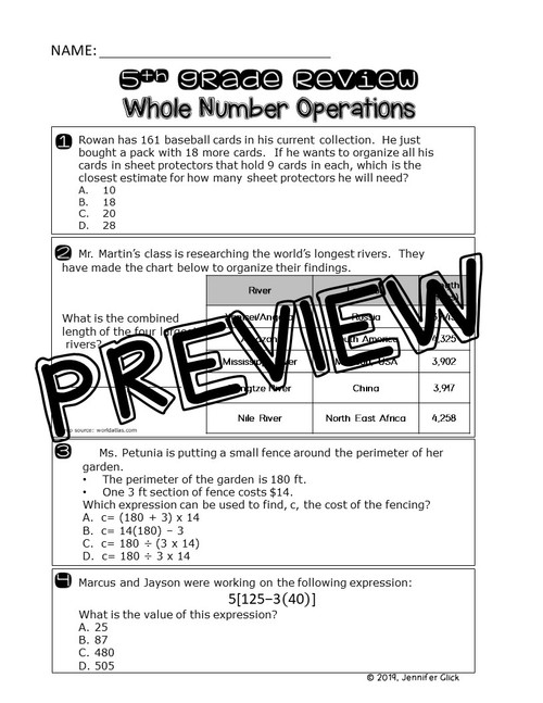 5th Grade Review: Whole Number Operations
