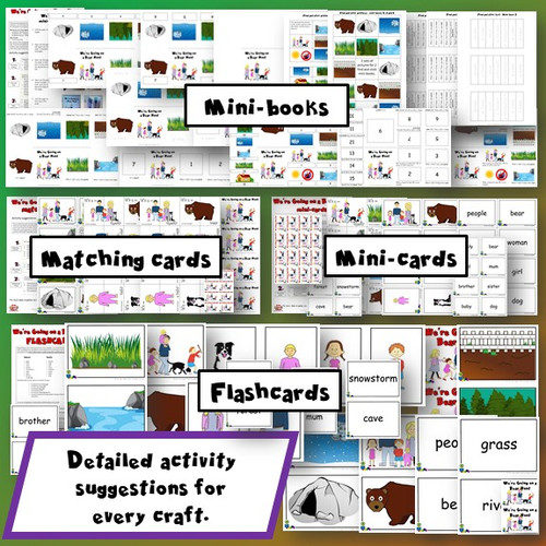 We're Going on a Bear Hunt mini-books, matching cards, mini-cards, flashcards