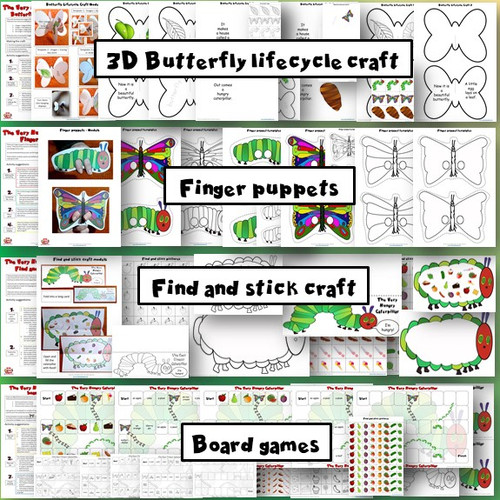 The Very Hungry Caterpillar 3D butterfly lifecycle craft, finger puppets, find and stick craft, board games