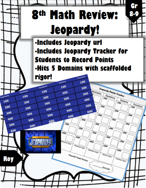 8th Math Review: Fun Jeopardy Game & Tracker!