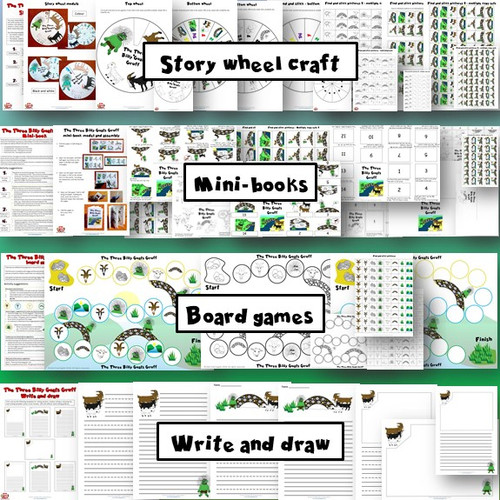 The Three Billy Goats Gruff Activity Pack - Story wheel craft, mini-books, board games, write and draw templates