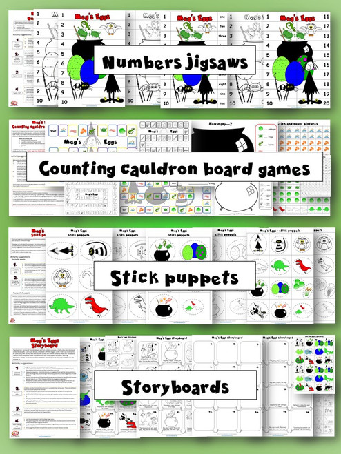 Meg's Eggs Activity Pack - numbers jigsaws, counting cauldron board games, stick puppets, storyboards