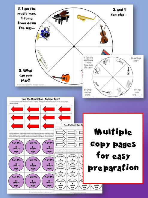 I am the Music Man Spinner Craft Game templates