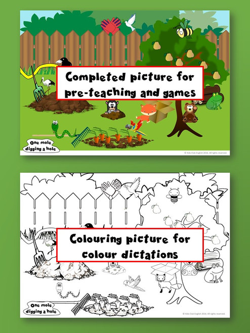 One Mole Digging a Hole Coloring sheet
