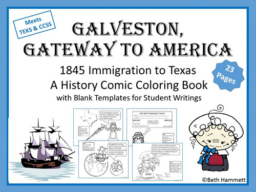 Galveston, Gateway to America (Texas History Comic Coloring Book)