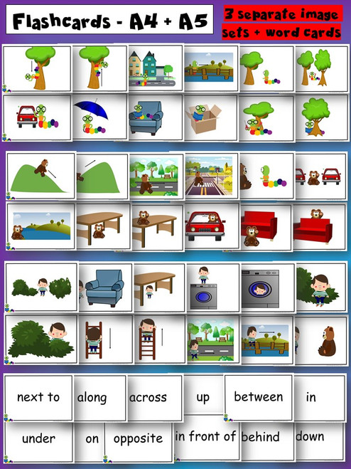 Prepositions flashcards and game cards - flashcards preview