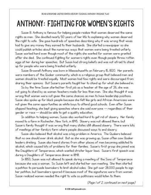 US History Paired Texts:  Susan B. Anthony and Eleanor Roosevelt